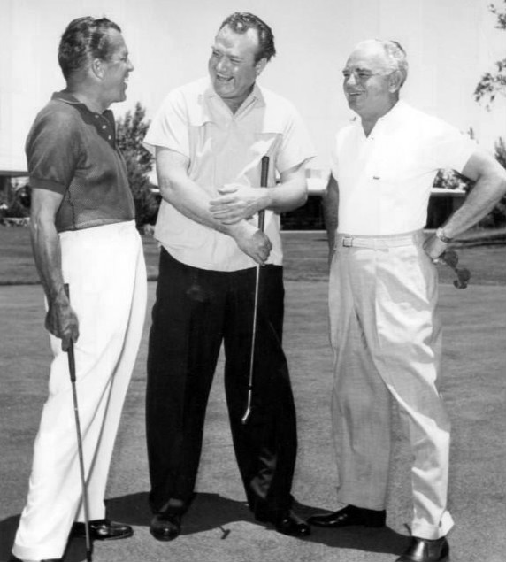 Photo of Ed Sullivan, Red Skelton and Wilbur Clark playing golf at the Desert Inn, Las Vegas. Clark was the original owner of the hotel; Sullivan and Skelton were both performing at it at the time the photo was taken.