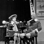 "Photo from the television program The Red Skelton Show. In this skit, guest star Jane Powell plays the girlfriend of Skelton's ""Junior"" character."