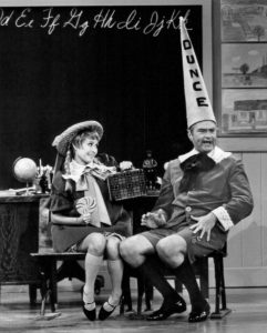 """Photo from the television program The Red Skelton Show. In this skit, guest star Jane Powell plays the girlfriend of Skelton's """"Junior"""" character."""