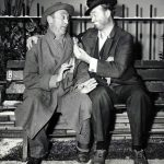 Photo of Red Skelton as Freddie the Freeloader and Allen Jenkins as Freddie's pal, Muggsie for an enactment of the O. Henry story The Cop and the Anthem. Skelton first enacted this story in 1954; this is his 1958 enactment of it on The Red Skelton Show. The two plan how to get arrested so they will have a warm place and a meal for Christmas.