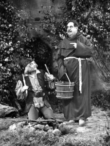 Red Skelton as Robin Hood and Billy Gilbert as Friar Tuck in a skit from The Red Skelton Show in 1956