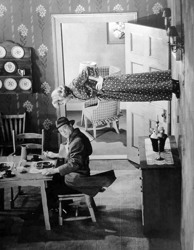 Willy Lump Lump and Shirley Mitchell in the topsy turvy room in 1952