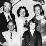 Photo of Red Skelton and his family circa 1957.Back, from left: Skelton, his wife, Georgia, Georgia's sister, Maxine Davis. Front, son, Richard, and daughter, Valentina