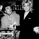 Photo of Red Skelton as Clem Kadiddlehopper and guest star Rosemary Clooney. Clooney played an airline stewardess who met Clem on a flight to New York. Clem's traveling companion was a talking flea.