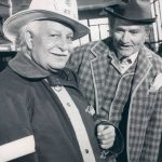 Photo of Arthur Fiedler and Red Skelton from The Red Skelton Show. Fiedler was very interested in firefighting; he played a firefighter in one of the skits on the show while Skelton is shown as his character Clem Kadiddlehopper.