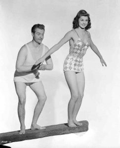 Red Skelton and Esther Williams in a publicity photo from Bathing Beauty