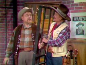 """Big Pappy Tumbleweed (Burl Ives) and Sheriff Deadeye (Red Skelton) in """"Sheriffs are Bought Not Made"""""""