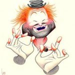 Caricature of ICHOF Inductee Red Skelton, as his famous hobo clown, Freddie the Freeloader (Art by Dave Woodman)