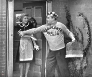 """Look out! The shrimp boats are coming! Cauliflower McPugg drops off his Christmas present in """"The Skeltons at Home"""""""