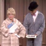 Clara Appleby shows off her new $5,000 mink coat to her suffering husband George in A Beauty Can Skin You Deep