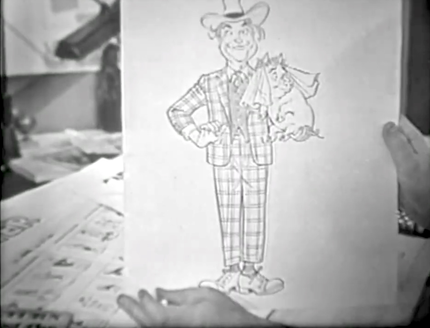 "Sketch of Clem Kadiddlehopper by Al Capp in ""Clem in Dogpatch"""