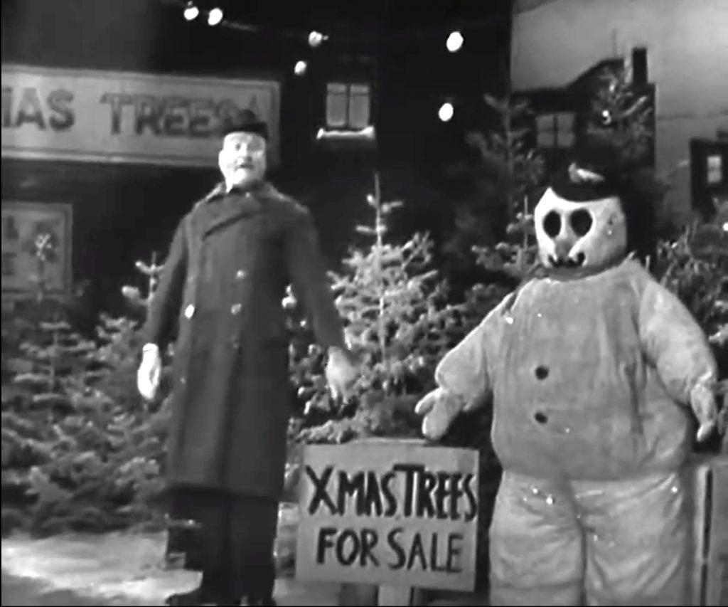 Clem Kadiddlehopper's Christmas Tree lot - with snowman
