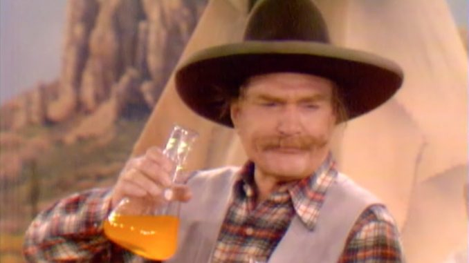 "Sheriff Deadeye about to drink Running Fever's bravery potion in ""The Fastest Crumb in the West"""
