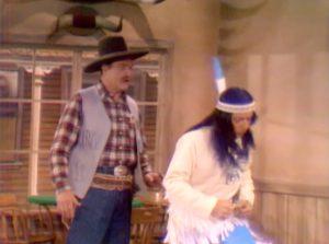 Sheriff Deadeye (Red Skelton) and medicine man Running Fever (Bobby Darin) in town