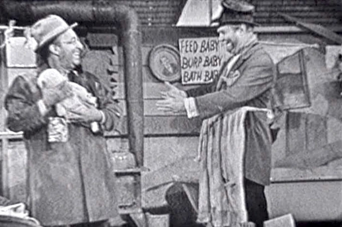 Freddie and the Baby - Ed Wynn with the baby and Freddie the Freeloader