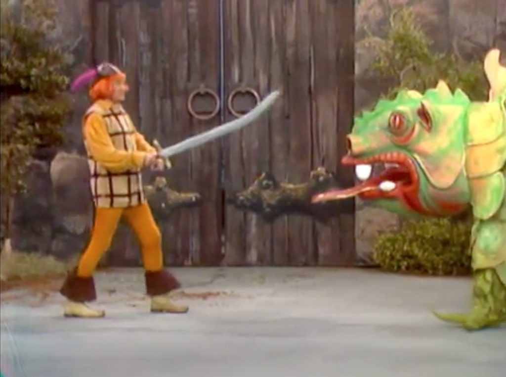 """Forsooth versus the fire breathing dragon, in """"Where there's smoke, there's a dragon"""""""