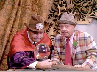 Clem Kadiddlehopper as the Swami of Las Vegas, and Mickey Rooney as Mickey the Loser, in Eenie Meenie Minee Schmo