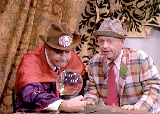 Clem Kadiddlehopper as the Swami of Las Vegas, and Mickey Rooney as Mickey the Loser, in Eenie Meenie Minee Schmo
