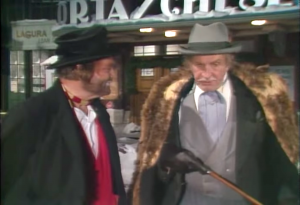 Freddie the Freeloader and The Professor (Vincent Price) in Red Skelton's Christmas Dinner