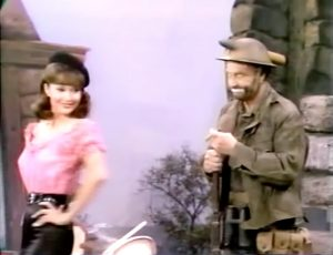 Beautiful French girl (Francine York) that Freddie the Freeloader is convinced is a mirage!