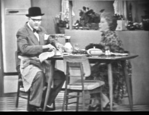 George and Clara Appleby eat breakfast, as George begins predicting each play of the baseballl game - Appleby's Predictions