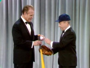 George Gobel demonstrates his impossible curve ball to Red Skelton