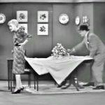 George Appleby hems his wife's skirt -- whoops!