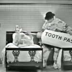 """George Appleby (Red Skelton) accidentally squirts his wife Clara (Virginia Grey) with toothpaste in """"Somebody Up There Hates Me"""""""