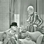 """George Appleby (Red Skelton) and the two Claras (Virginia Grey, Dyan Cannon) in """"Somebody Up there Should Stay There"""""""