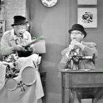 """Harpo Marx pulls out his giant scissors - to """"help"""" George Appleby by cutting off his tongue!"""