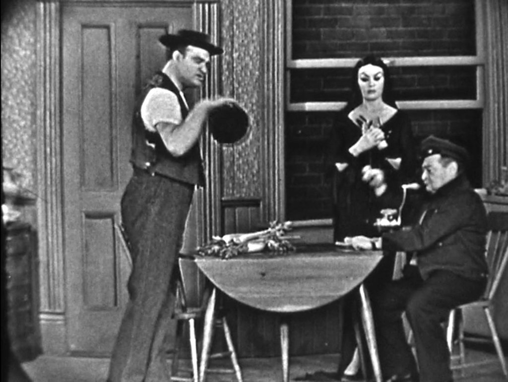 "Honeymooners spoof - Red Skelton as Ed Norton, Peter Lorre as Ralph Cramden, Vampira as Ralph's wife ""Malice"""
