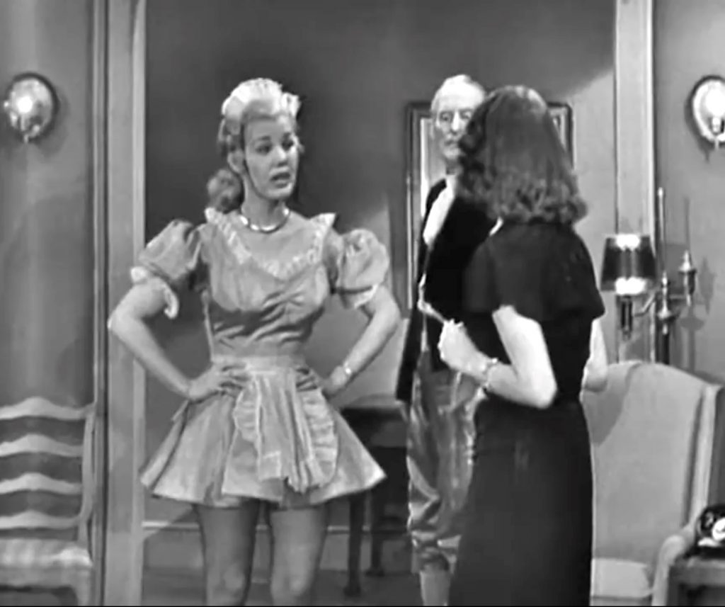 """Lucille Knock as the maid in """"Clean Politics"""" - """"I don't know why my husband hired her - she can't cook!"""""""