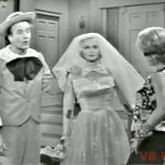 Junior, mannequin wearing wedding dress, and his mother (Janis Paige)