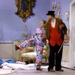 Hobo kicking - Mugsy (Mickey Rooney) about to kick his old friend Freddie the Freeloader (Red Skelton) out in Loafer Come Back to Me