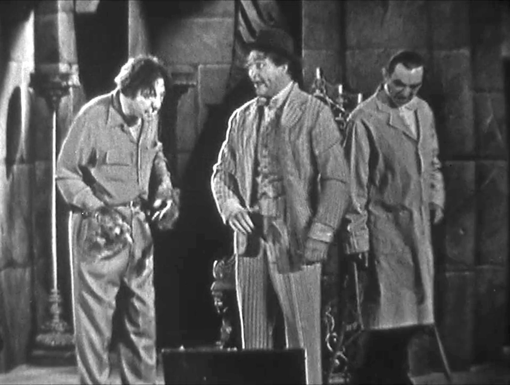 """Lon Chaney Jr., Clem Kadiddlehopper, Bela Lugosi in """"Dial 'B' for Brush"""""""
