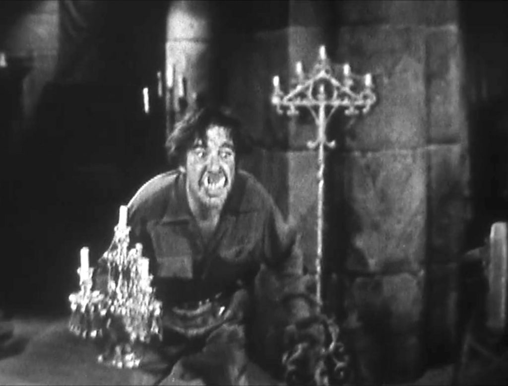 Lon Chaney Jr. as Bela Lugosi's half-brother George -- who's also half wolf