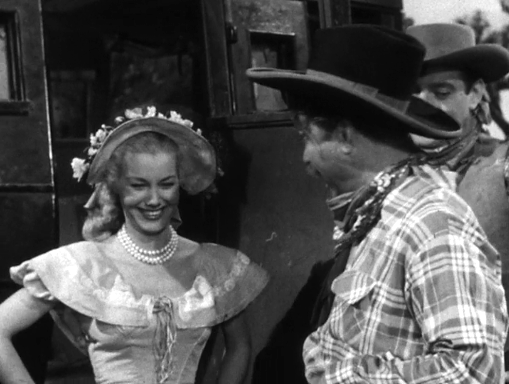 Lucille Knoch and Deadeye in Stagecoach Robbery