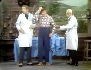 """Mad scientists Vincent Price and Boris Karloff mistake Clem Kadiddlehopper for their robot in """"He Who Steals My Robot Steals Trash"""""""