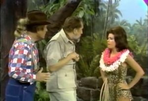 Clem Kadiddlehopper (Red Skelton), Dr. Flygrabber (Vincent Price), and the leader of the tribe of mad women