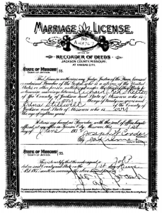 Marriage License - Red Skelton and Edna Stilwell