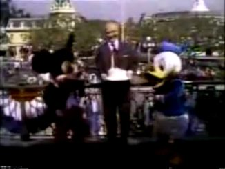 Monsanto Night Presents Walt Disney's America on Parade (1976) - Mickey Mouse, Red Skelton, and Donald Duck pose with a birthday cake for the U.S.A. - celebrating the bicentennial