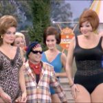 Mugsy in Hollywood, surrounded by bathing beauties in Loafer Come Back to Me