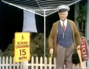 """Pops, the elderly crossing guard on his last day of work in """"Four Walls Do Not a Prison Make so they added iron bars"""""""
