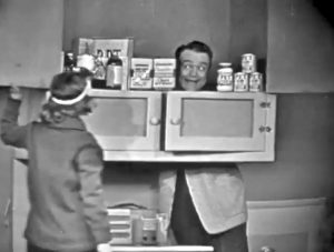 Mary McCarty finds Red Skelton in the cupboard in Love Thy Neighbor / Sadie Murphy's Trailer Park