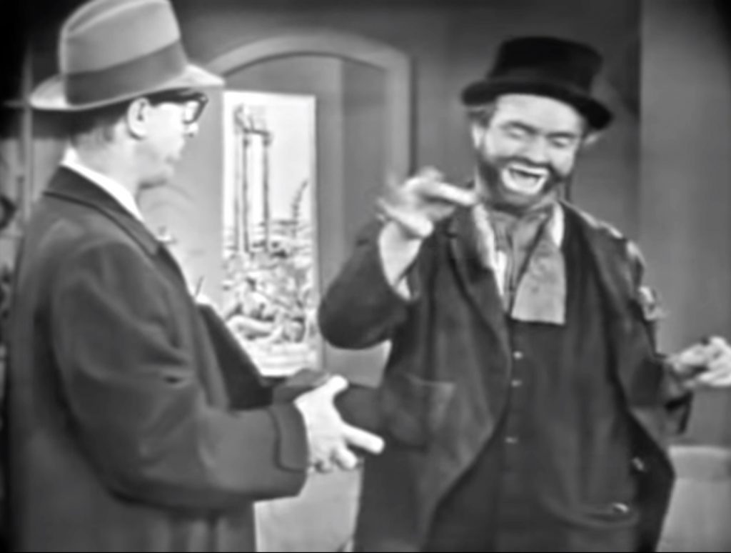 """Agent Munson (Richard Deacon), the red herring, and Freddie the Freeloader (Red Skelton) in """"Freddie and the Spies"""""""