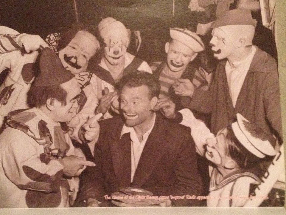 Red Skelton with the Clyde Beatty clown alley in 1946