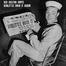 Red Skelton posing with the famous newspaper headline, Doolittle Dood It, using the Mean Little Kid's catchphrase
