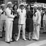 Red Skelton, Eleanor Powell, Tommy Dorsey, Virginia O'Brien, Bert Lahr and (at the extreme left) a very young Frank Sinatra in Ship Ahoy