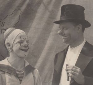 ICHOF Inductee Red Skelton as guest clown on the Cole Brothers Circus, taken in the late 1940's - courtesy of the Clown Hall of Fame