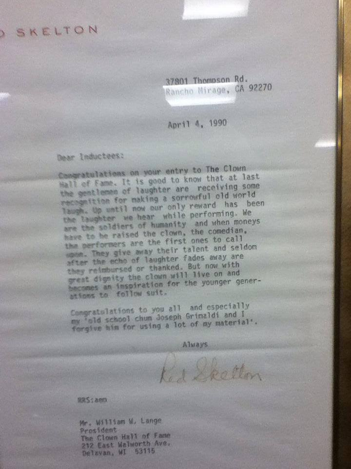 Red Skelton's letter on his induction to the International Clown Hall of Fame